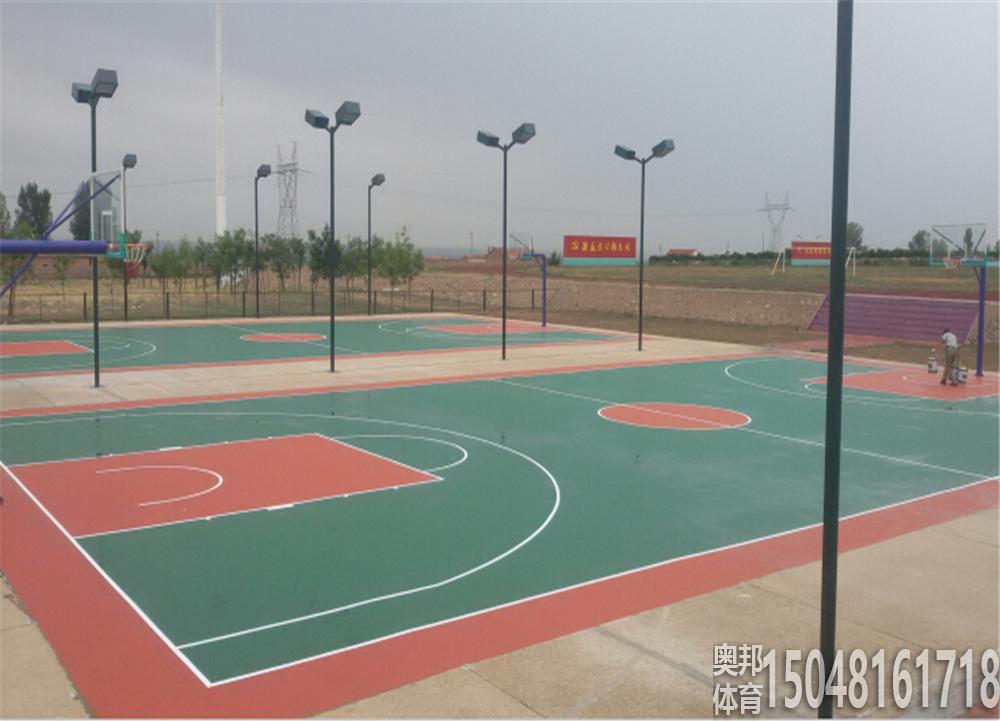 巴盟前期空军公庙部队硅PU篮球场地和球场灯光